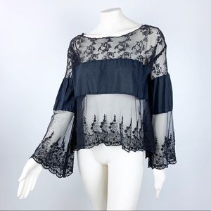 Free People | Embroidered Mesh Bell Sleeve Top S